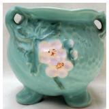 Teal White Floral Weller Pottery Footed Vase