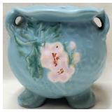 Blue Weller Pottery White Floral Footed Vase