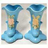 Pair Baby Blue Weller Pottery White Floral Vases