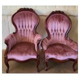 Pair of pink Victorian style upholstered chairs