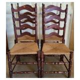 Set of 4 antique ladder back dining chairs