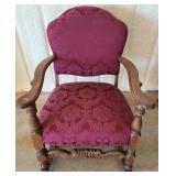 Vintage walnut upholstered rocking chair