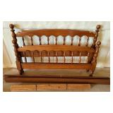 Walnut wood full size bed frame set