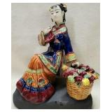 Delicate Asian Lady Figurine Sitting on Bench