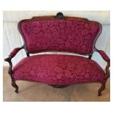 Antique authentic Victorian upholstered love seat