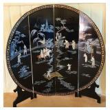 4 panel oriental mother of pearl wood screen