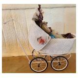 White vintage wicker style doll stroller #59