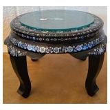 Bamboo wood mother of pearl glass top table #114