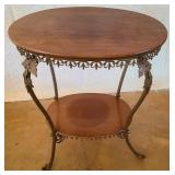 Oak wood and iron 2 tier table #12