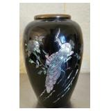 Black Brass Asian Style Vase with Mother of Pearl