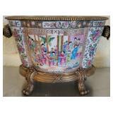 Beautiful Asian Style Porcelain & Brass Foot Bath