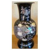 Bamboo like wood mother of pearl large vase #91