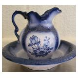 Vintage arneis Hand painted pitcher and bowl