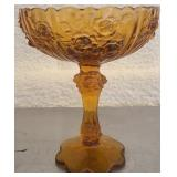 Fenton glass brown open rose footed candy dish