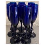 Set of 8 cobalt blue glasses