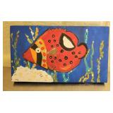 Hand painted Oil on Wooden Board Fish Painting