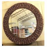 Brown Woven Framed Round Decorative Mirror