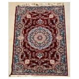 Small Beautiful Maroon & Navy Floral Area Rug