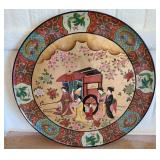 Bamboo like wood HUGE decor plate with stand #130