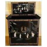 Vintage Asian Wood Mother of pearl Saki  cabinet