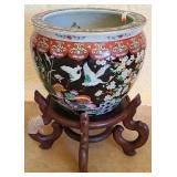 Large Asian porcelain plant holder Jardiniere