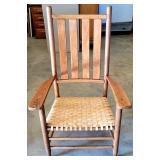 Vintage White Split Oak Woven Bottom Chair