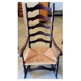 Vintage Dark Wood Woven Bottom Rocking Chair