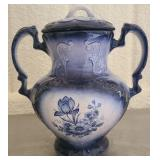 Vintage white and blue urn with lid