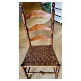 Vintage Wooden Ladderback Thatch Bottom Chair