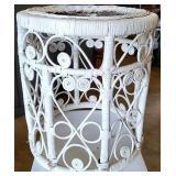 Decorative White Wicker Plant Stand