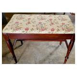 Vintage Mahogany Wooden Floral Top Vanity Stool