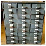 Antique Industrial Metal 27 Drawer Cabinet