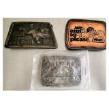 Lot of 3 Collectible NFR & WOODS Belt Buckles