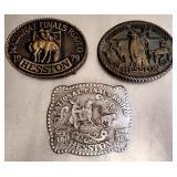 Lot of 3 National Finals Rodeo Belt Buckles