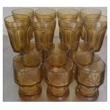 Lot of several brown coin glass cups