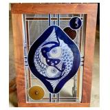 Beautiful Decorative Framed Koi Fish Stained Glass