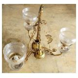 Stunning Ornate Antique Chandelier w Glass Globes