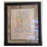 1905 alabama map framed print