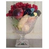 Large Shannon Crystal fruit bowl with faux fruit