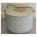 Vintage wood basket for sewing items