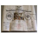 Antique American flag rouse certificate