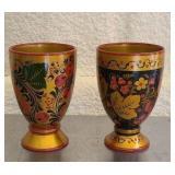 Set of 2 lights wood cups
