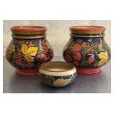 Set if 3 small wood vases
