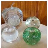 Lot of 4 blown glass apple paper weights