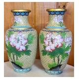 Pair of brass hand painted vases