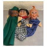 Lot of 3 rubber and wood dolls