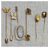 6 Lapel Butterfly R S & Fire Opal Style Pins