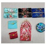 Vintage Asian Style Floral Silk Like Bags