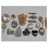 17 Vintage Sterling & Costume Jewelry Brooches