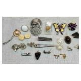Vintage Lot of Misc Pins, Brooches, Earrings, etc